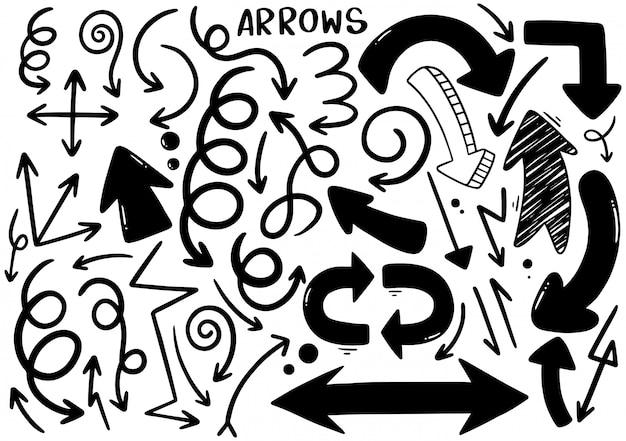 Setas desenhadas à mão Vetor Premium