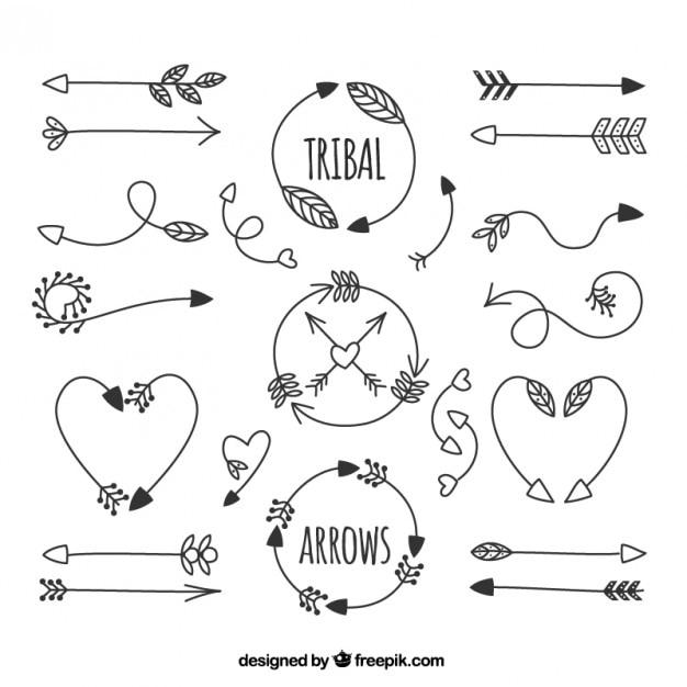 Setas desenhadas m o tribais baixar vetores gr tis for Setas para decorar