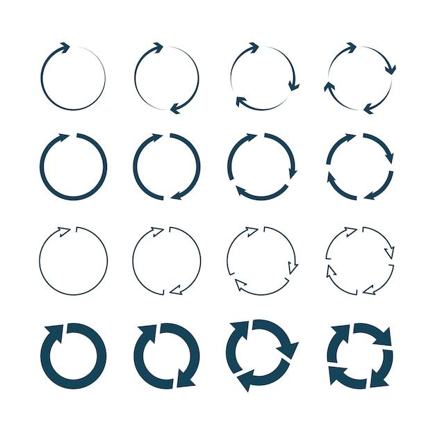 Setas do círculo. setas redondas à direita apontando para a coleção de ícones de símbolos Vetor Premium