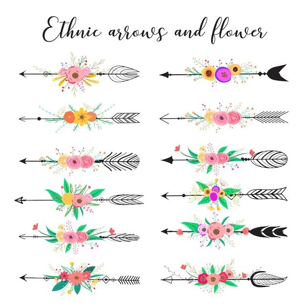 Setas étnicas e flor, penas e flores estilo boho. Vetor Premium