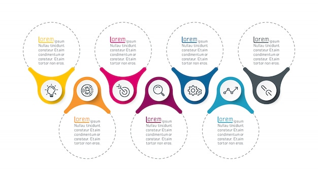 Sete barra de infográficos verticais. Vetor Premium