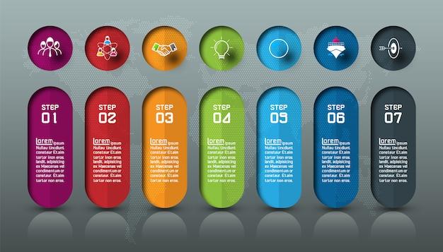 Sete barras coloridas com infográficos de ícone de negócios. Vetor Premium