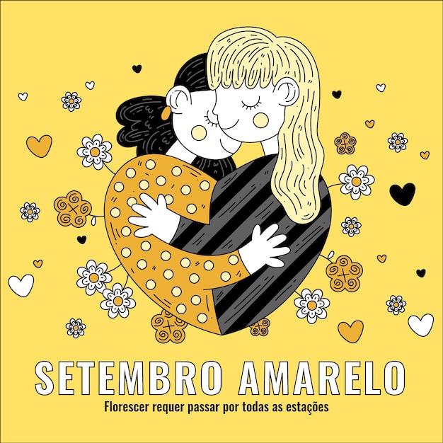 Setembro amarelo com amigo abraçando Vetor grátis