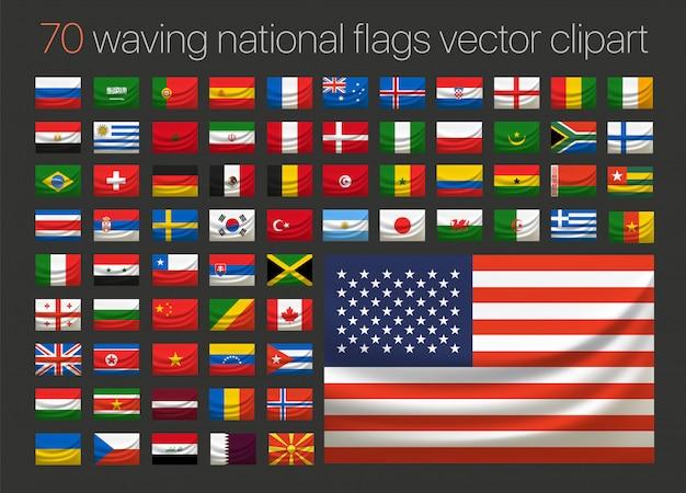 Setenta bandeiras do país acenando clipart vetorial. ilustração em camadas Vetor Premium