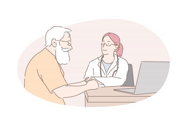 Setor de saúde, exame de saúde, conceito de aconselhamento médico Vetor Premium