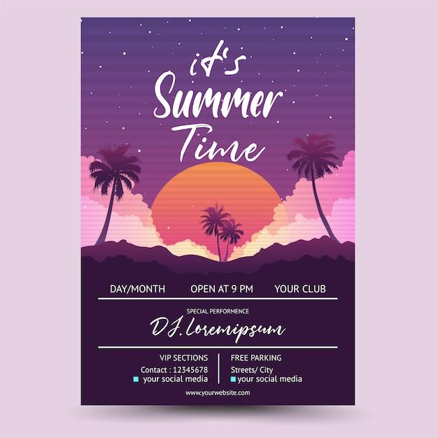 Seu evento de dj de verão Vetor Premium