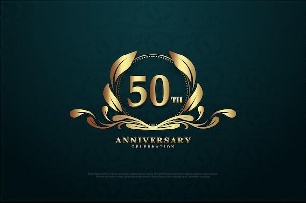 Seu quinquagésimo aniversário com números brilhantes dourados e símbolos únicos Vetor Premium