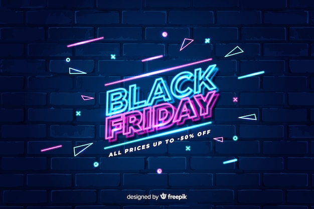 Sexta-feira colorida de néon preto Vetor grátis