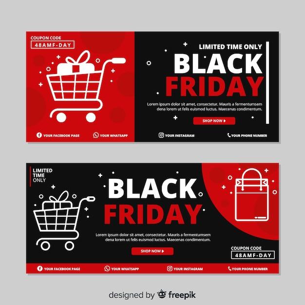 Sexta-feira design plano preto conjunto de banners Vetor grátis
