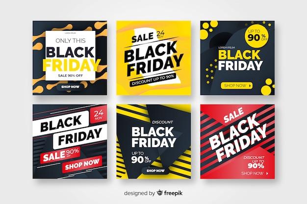 Sexta-feira negra coleção instagram post Vetor grátis