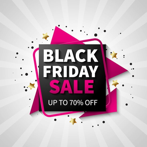 Sexta-feira negra colorida venda banner design, cor preto e rosa Vetor grátis