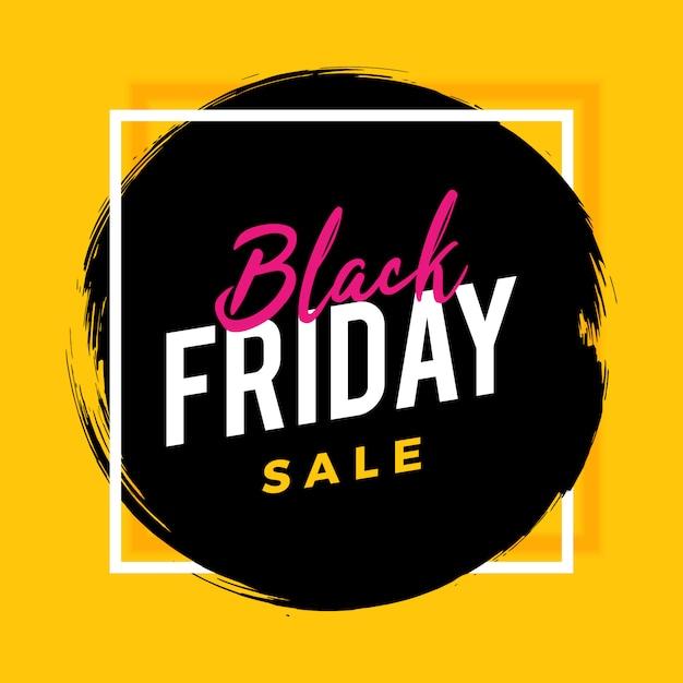 Sexta-feira negra escova banner venda em amarelo Vetor Premium