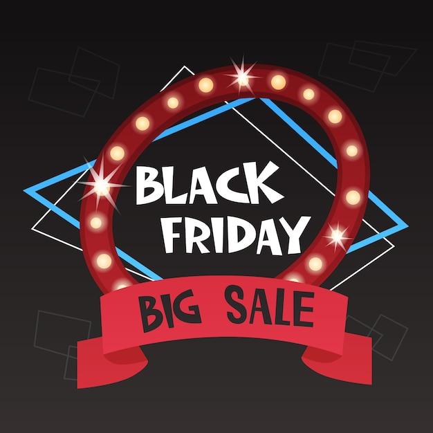 Sexta-feira negra grande venda banner discontos estilo retro Vetor Premium