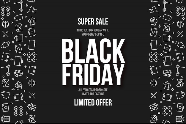 Sexta-feira negra moderna super venda fundo com ícones planas Vetor grátis