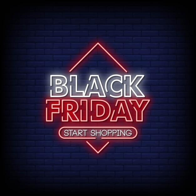 Sexta-feira negra sinais de néon estilo texto Vetor Premium