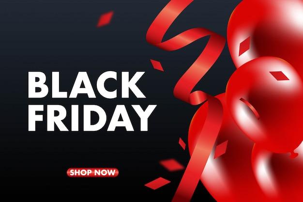 Sexta-feira negra venda banner vector fundo, balões vermelhos e pretos e conffeti. Vetor Premium