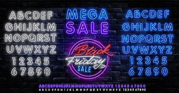 Sexta-feira negra venda neon banner vector. modelo de sinal de néon preto sexta-feira Vetor Premium