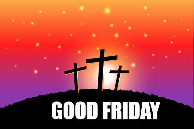 Sexta-feira santa cena de páscoa com base na cena de noite com religiosos Vetor Premium