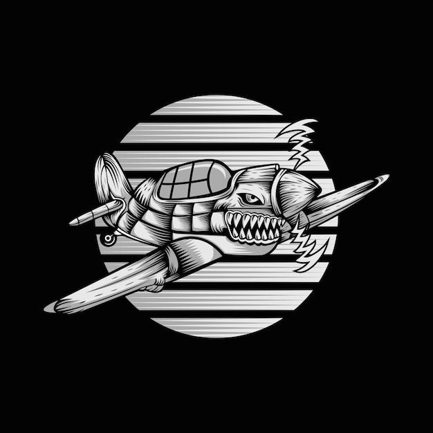Shark hurricane ariplane ilustração vetorial Vetor Premium