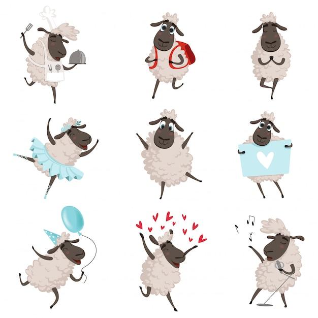 Sheeps engraçado dos desenhos animados em várias poses de ação Vetor Premium