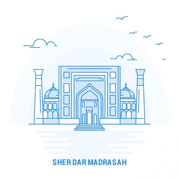Sher dar madrasah blue landmark Vetor Premium