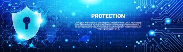 Shield shield blue polygons over circuit background Vetor Premium