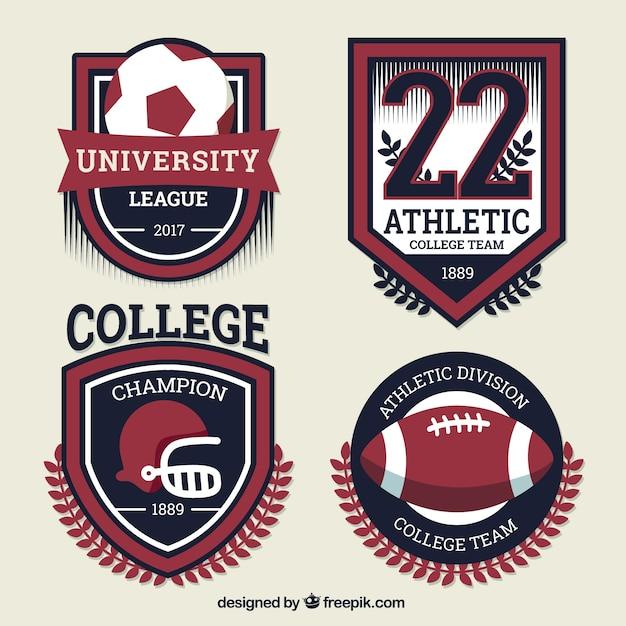 Shields para equipes de esportes da faculdade Vetor grátis
