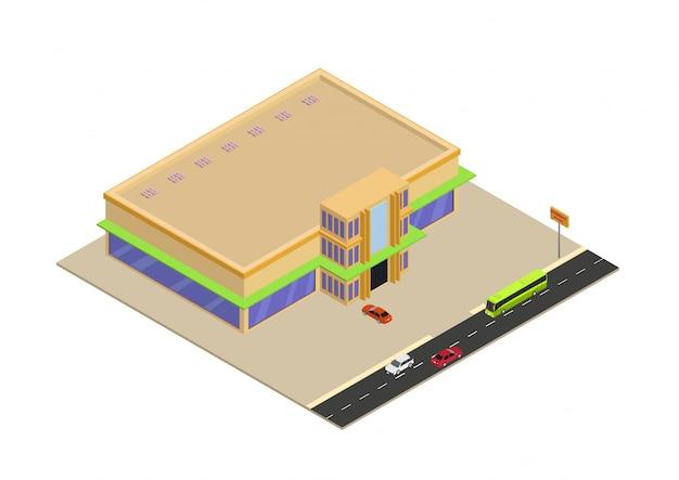 Shopping isométrico ou edifício de supermercado Vetor Premium
