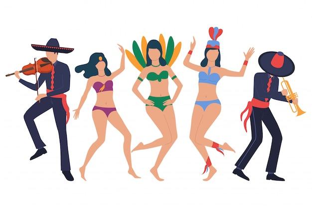 Show tradicional de latim. conjunto de homens em sombreros Vetor grátis
