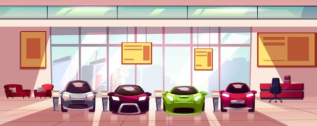 Showroom de carro - nova concessionária de automóveis em grande sala. hall com vitrine, vitrine de vidro. Vetor grátis
