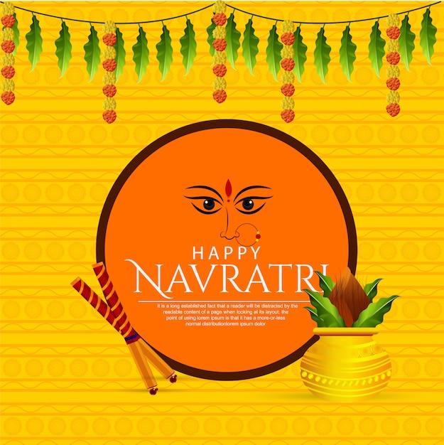 Shubh navaratri do cartão de maa durga Vetor Premium