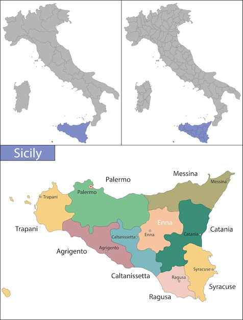 Sicília é a maior ilha do mar mediterrâneo Vetor Premium