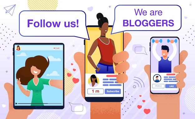 Siga o blogger motivation promotion flat Vetor Premium