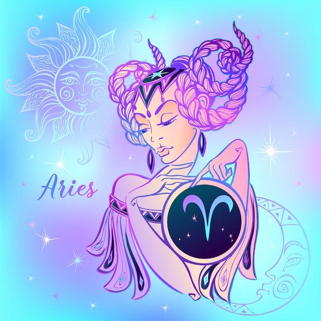 Signo do zodíaco áries uma menina bonita Vetor Premium