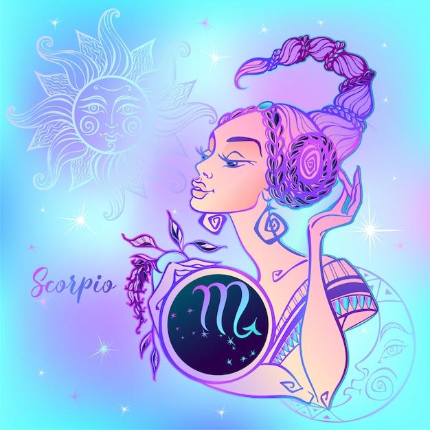 Signo do zodíaco escorpião uma linda garota. Vetor Premium