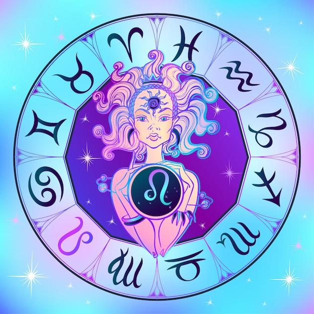 Signo do zodíaco leo uma linda garota Vetor Premium