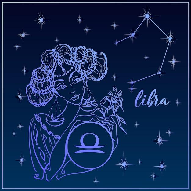 Signo do zodíaco libra como uma linda menina Vetor Premium