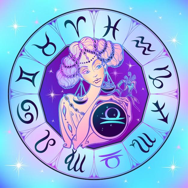 Signo do zodíaco libra uma linda garota Vetor Premium