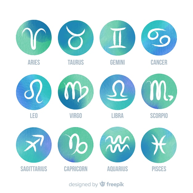 Signos do zodíaco em aquarela Vetor Premium