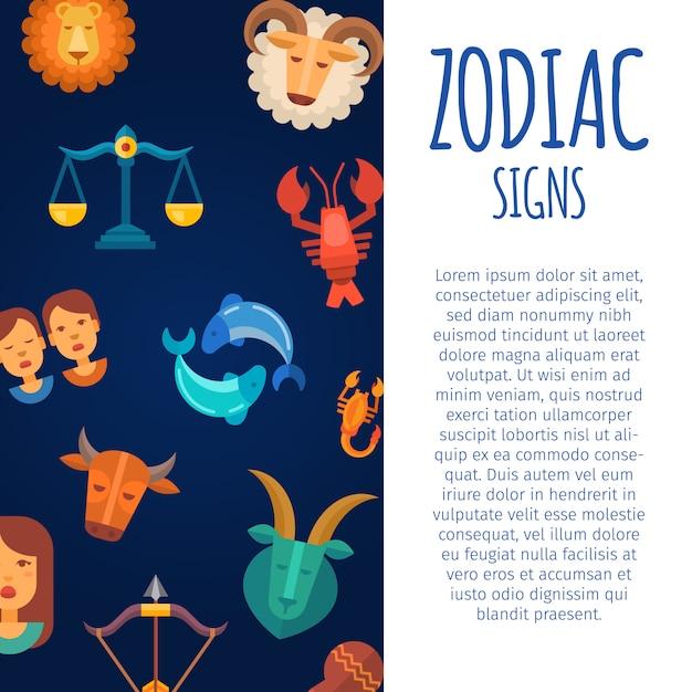 Signos do zodíaco no céu escuro. modelo de cartaz do calendário horóscopo zodiacal e astrológico com texto branco Vetor Premium
