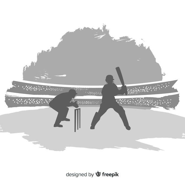 Sihouette de jogador de críquete Vetor grátis