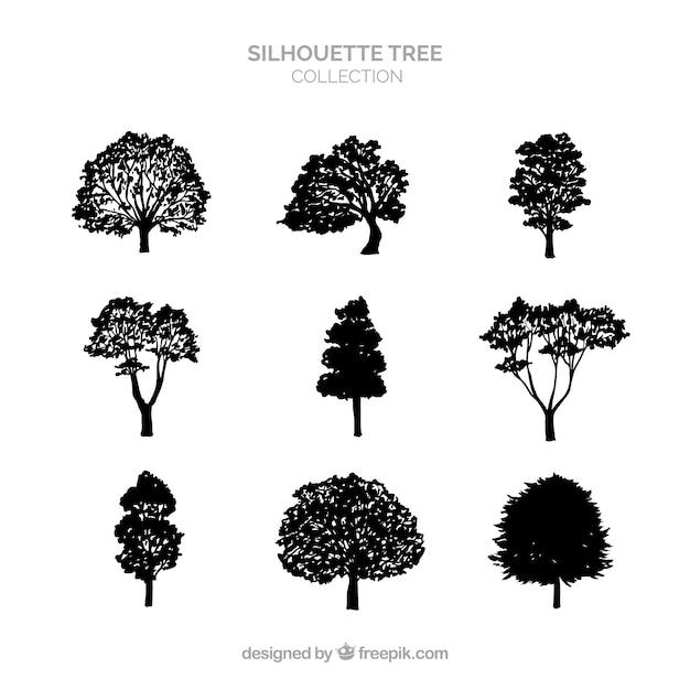 Silhouette coleção de árvores de nove Vetor grátis