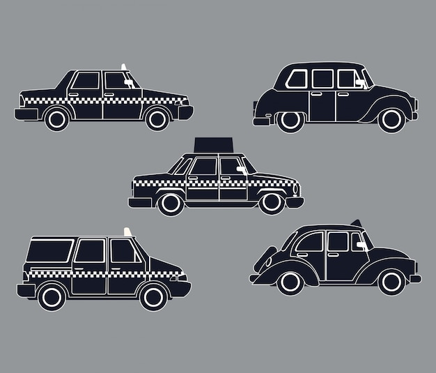 Silhouette set taxi car view Vetor Premium