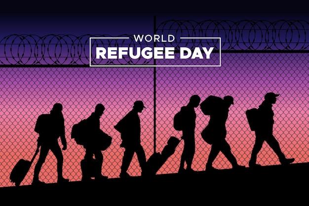 Silhouetts do dia mundial dos refugiados Vetor Premium