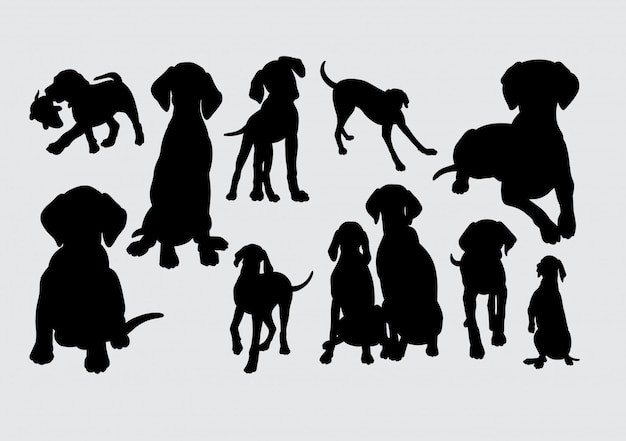 Silhueta animal cão Vetor Premium