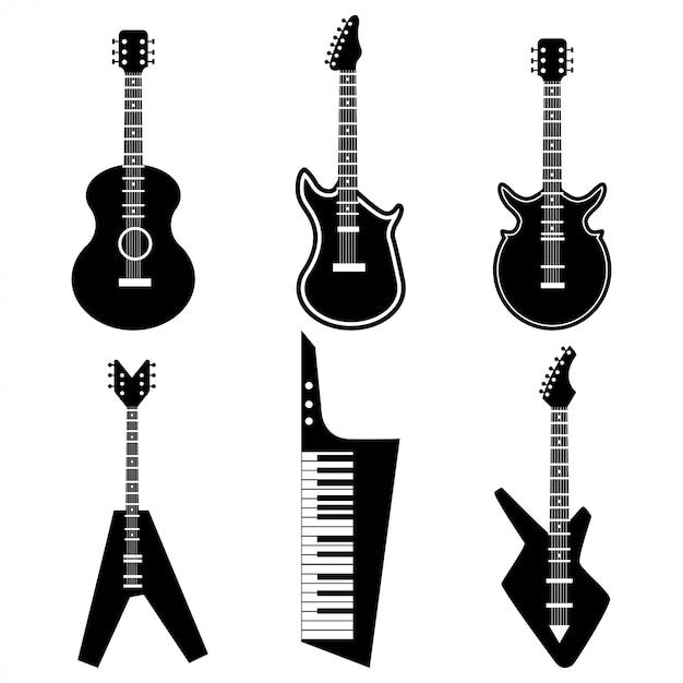 Silhueta clássica de preto e violão elétrico. Vetor Premium