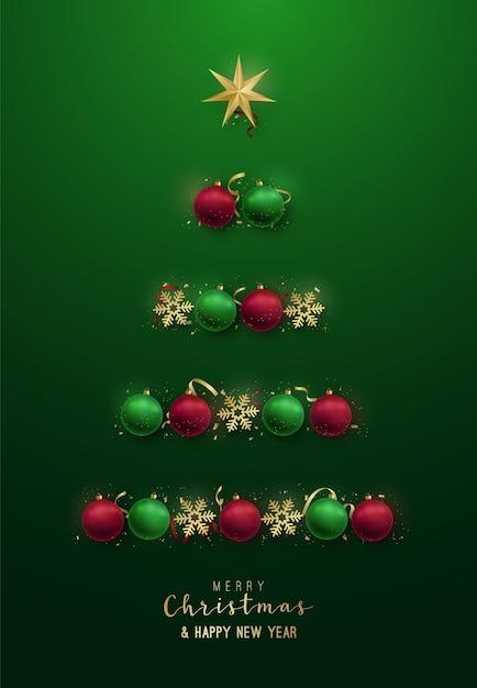 Silhueta da árvore de natal com enfeites decorativos, flocos de neve, estrela. Vetor Premium