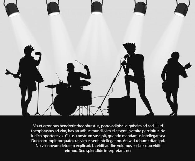 Silhueta da banda de rock no estágio com lugar do texto. Vetor Premium