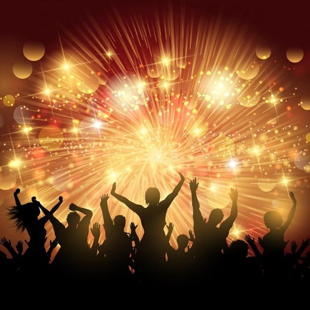 Corbett Lighting Party All Night: Silhueta Da Multidão Do Partido Ilumina O Fundo