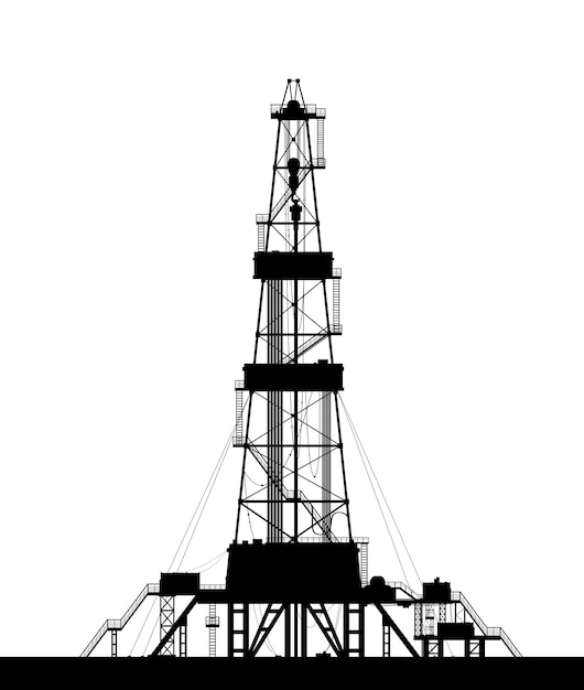 Silhueta da plataforma petrolífera isolada no fundo branco. Vetor Premium